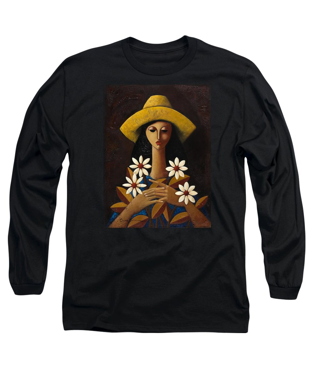 Puerto Rico Long Sleeve T-Shirt featuring the painting Cinco Margaritas by Oscar Ortiz
