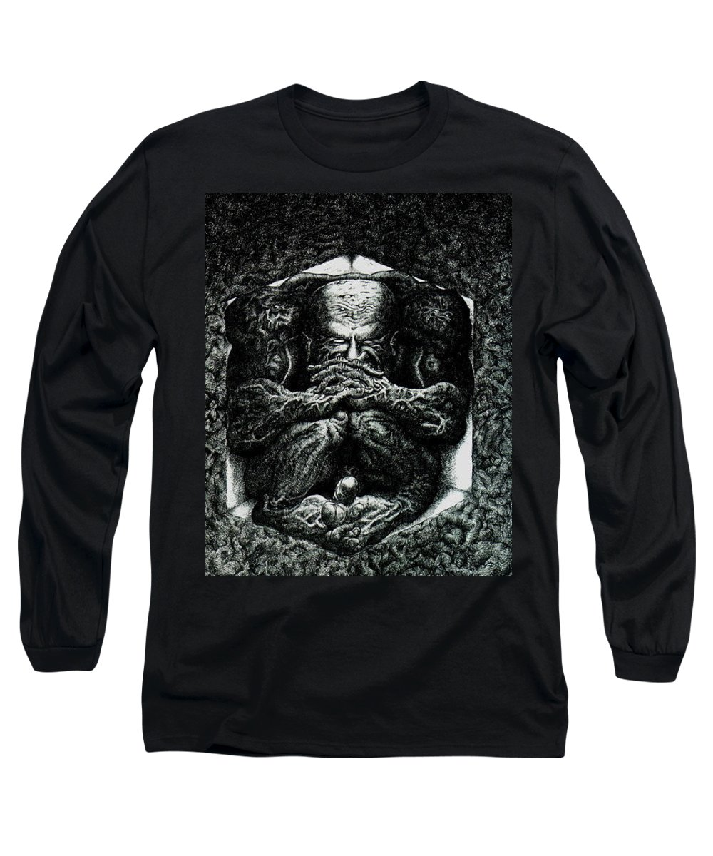 Dark Long Sleeve T-Shirt featuring the drawing Contemplation by Tobey Anderson