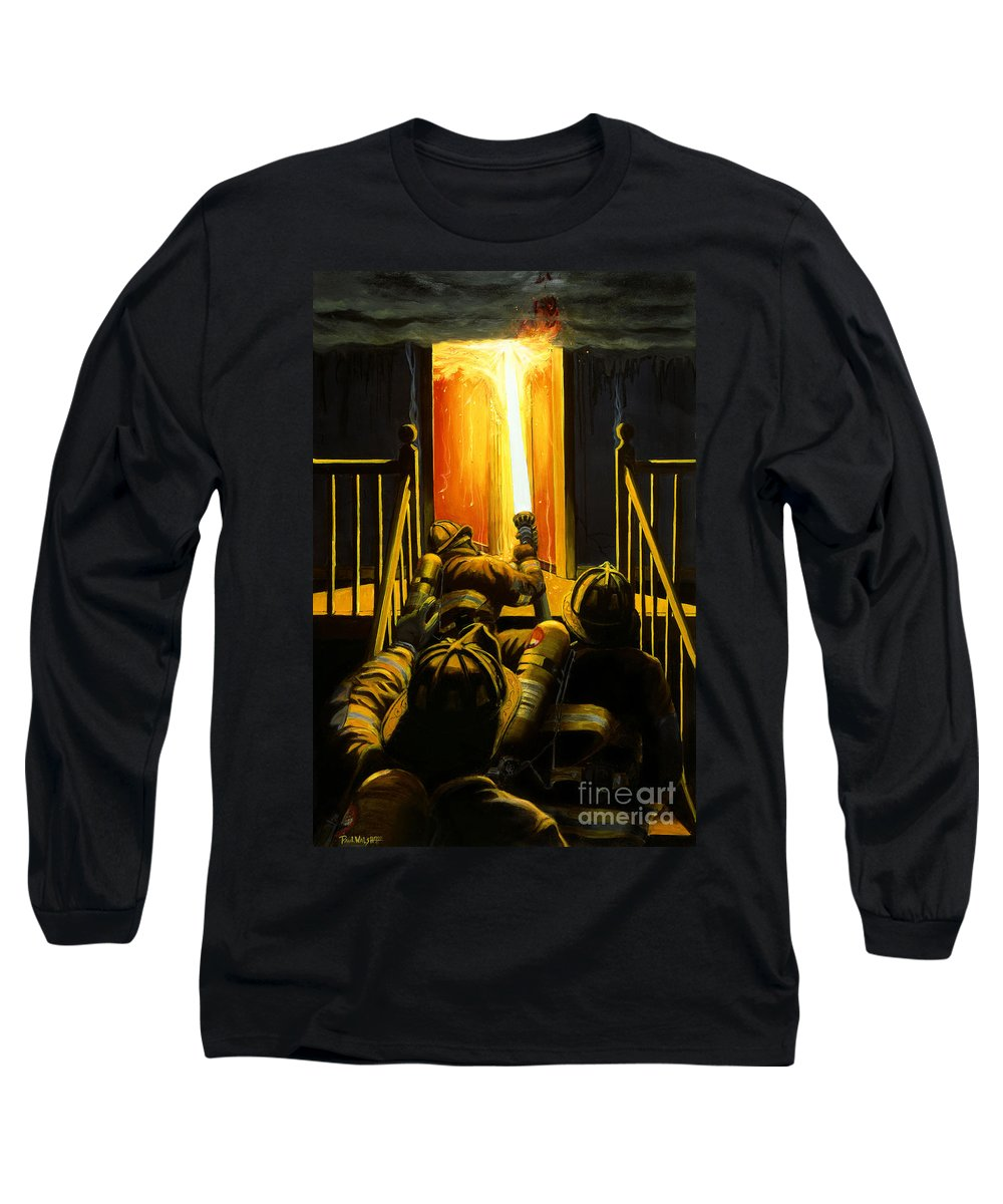 Firefighting Long Sleeve T-Shirt featuring the painting Devil's Stairway by Paul Walsh