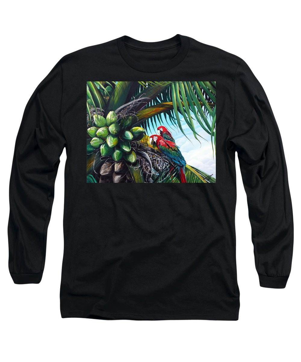 Macaws Bird Painting Coconut Palm Tree Painting Parrots Caribbean Painting Tropical Painting Coconuts Painting Palm Tree Greeting Card Painting Long Sleeve T-Shirt featuring the painting Friends Of A Feather by Karin Dawn Kelshall- Best