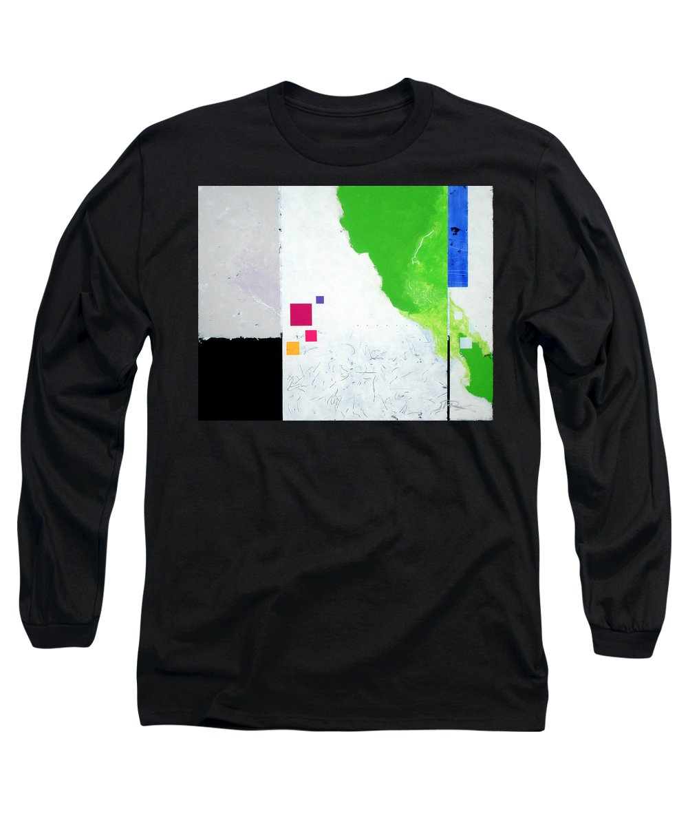 Abstract Long Sleeve T-Shirt featuring the painting Green Movement by Jean Pierre Rousselet