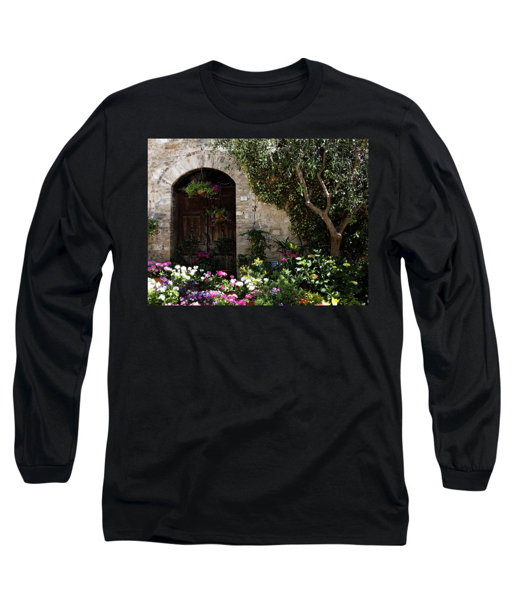 Flower Long Sleeve T-Shirt featuring the photograph Italian Front Door Adorned With Flowers by Marilyn Hunt