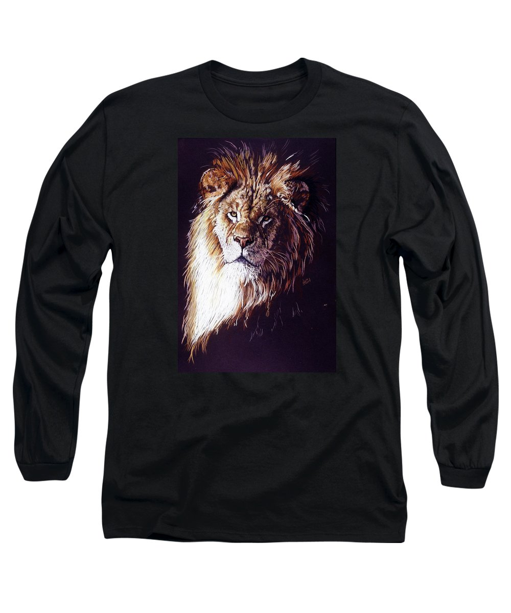 Lion Long Sleeve T-Shirt featuring the drawing Maestro by Barbara Keith