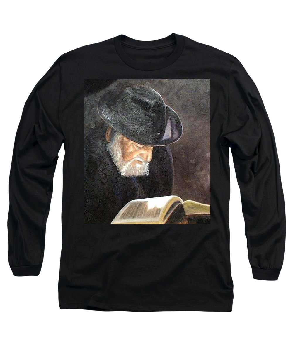 Portrait Long Sleeve T-Shirt featuring the painting Rabbi by Toni Berry