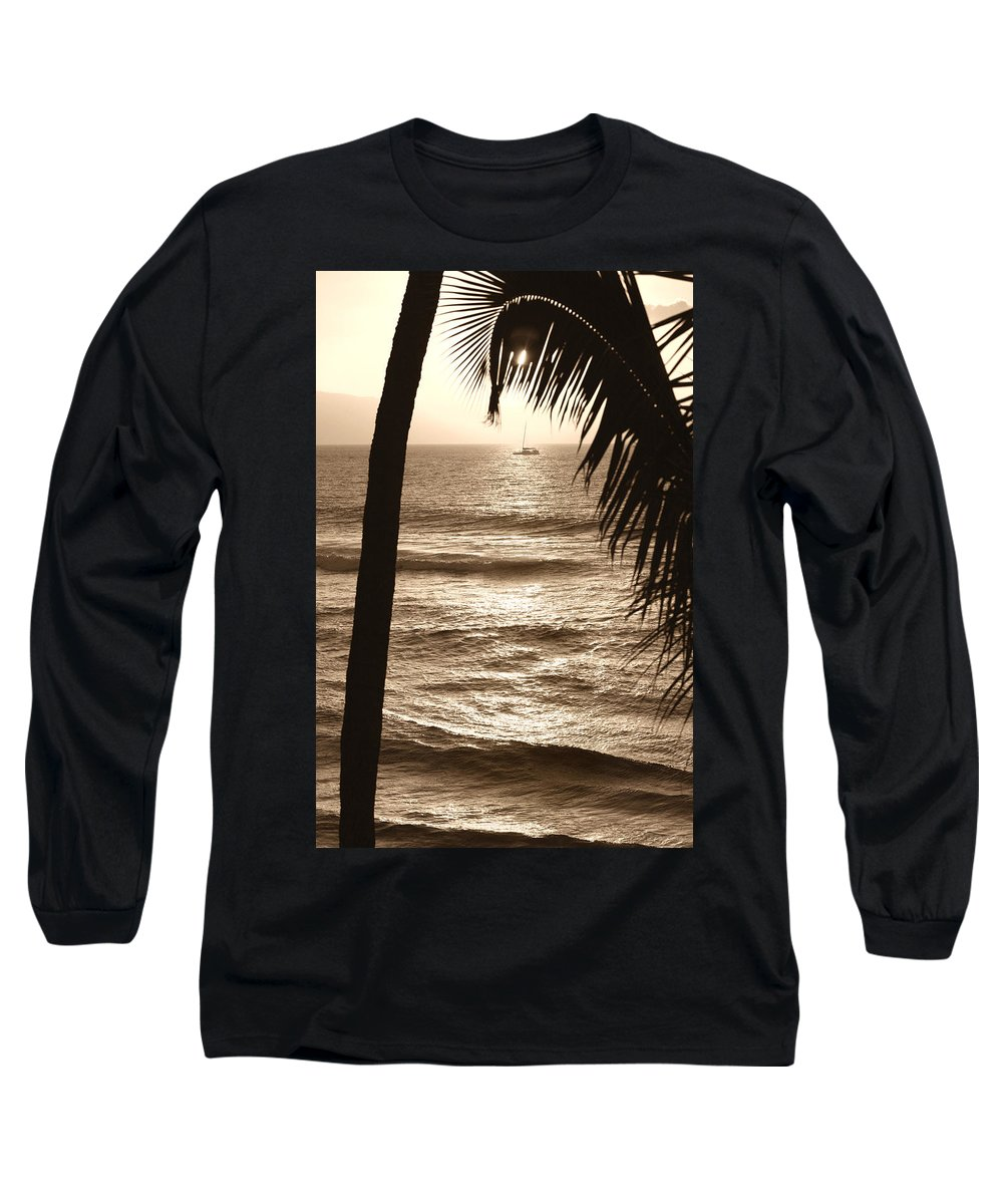 Hawaii Long Sleeve T-Shirt featuring the photograph Ship In Sunset by Marilyn Hunt