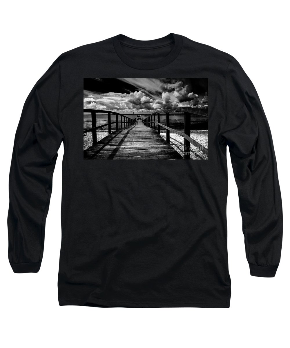 Southend On Sea Wharf Clouds Beach Sand Long Sleeve T-Shirt featuring the photograph Wharf At Southend On Sea by Avalon Fine Art Photography