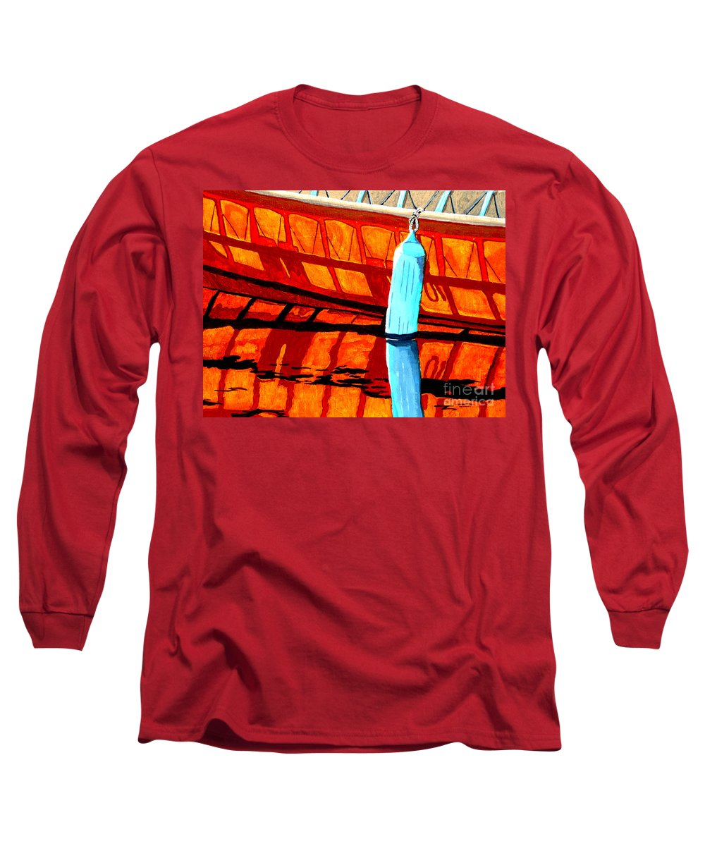 Canoe Long Sleeve T-Shirt featuring the painting The Blue Fender by Anthony Dunphy