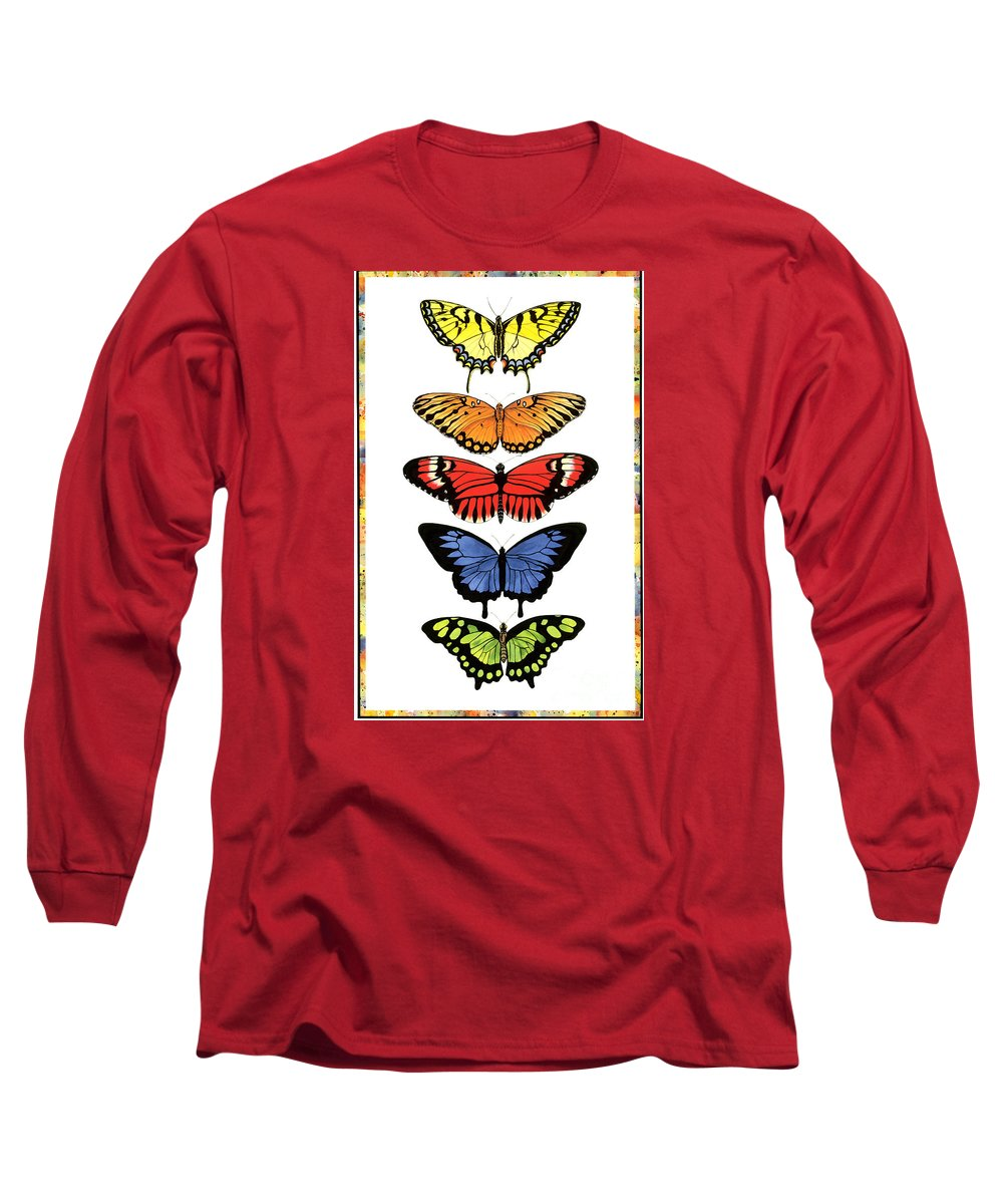 Butterflies Long Sleeve T-Shirt featuring the painting Rainbow Butterflies by Lucy Arnold