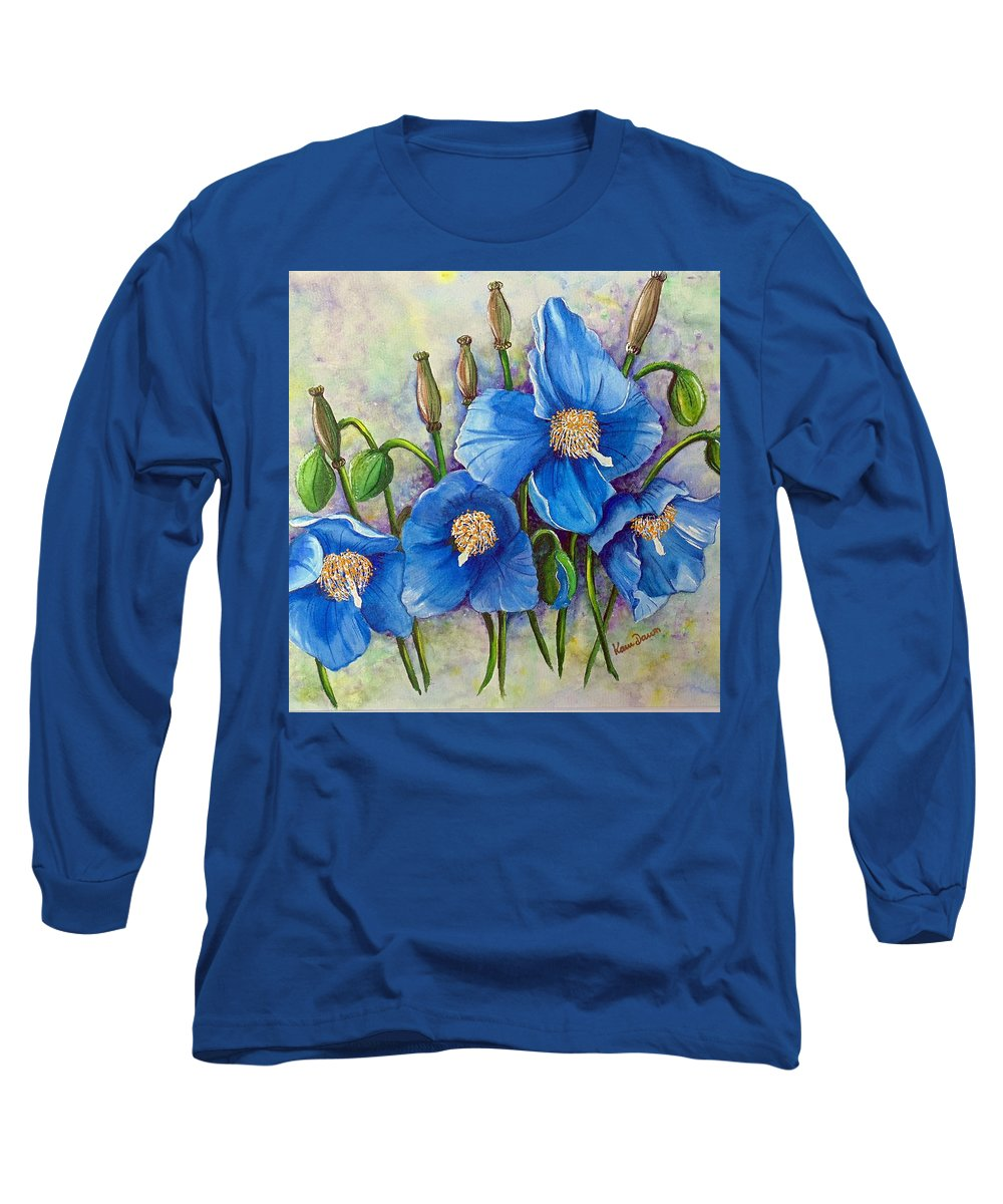 Blue Hymalayan Poppy Long Sleeve T-Shirt featuring the painting Meconopsis  Himalayan Blue Poppy by Karin Dawn Kelshall- Best