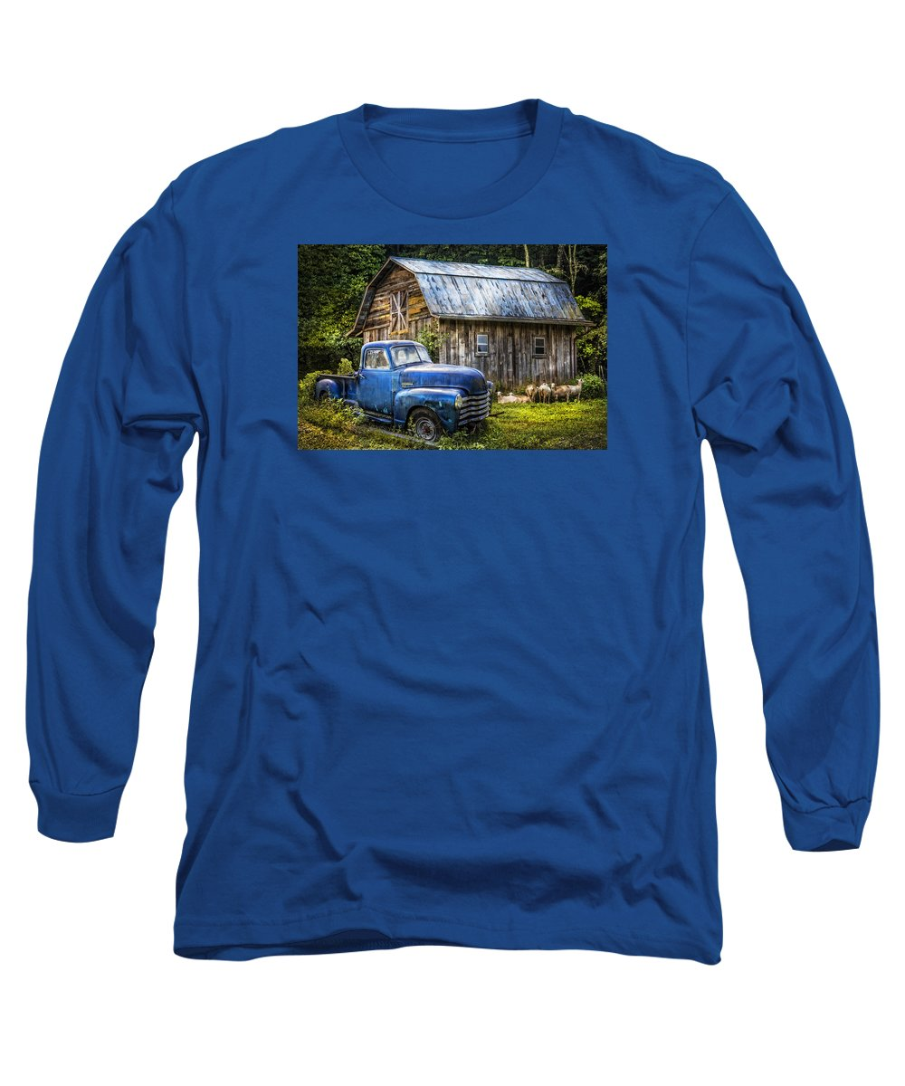 Big blue at the farm long sleeve t shirt for sale by debra for Big blue t shirts