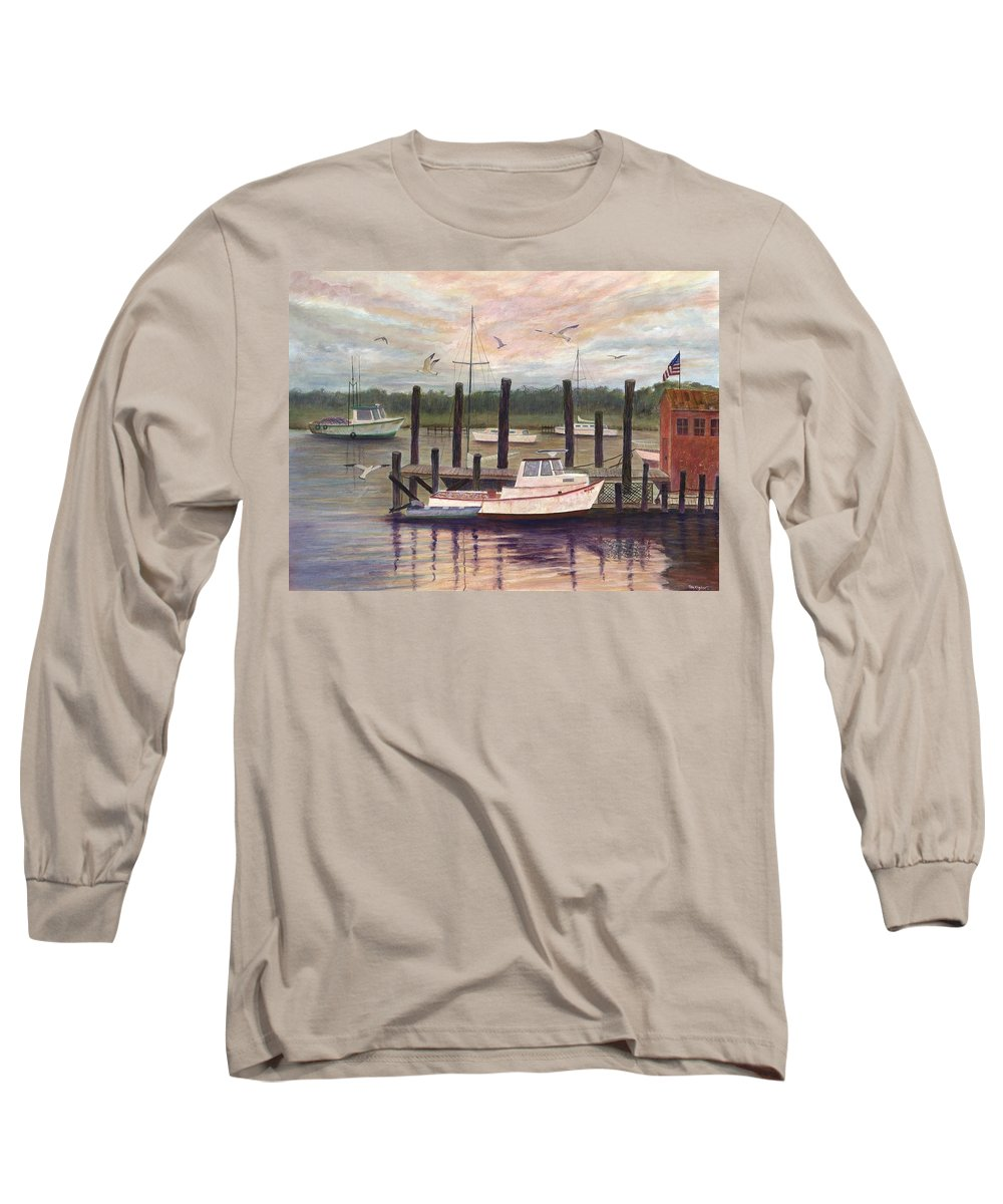 Charleston; Boats; Fishing Dock; Water Long Sleeve T-Shirt featuring the painting Shem Creek by Ben Kiger
