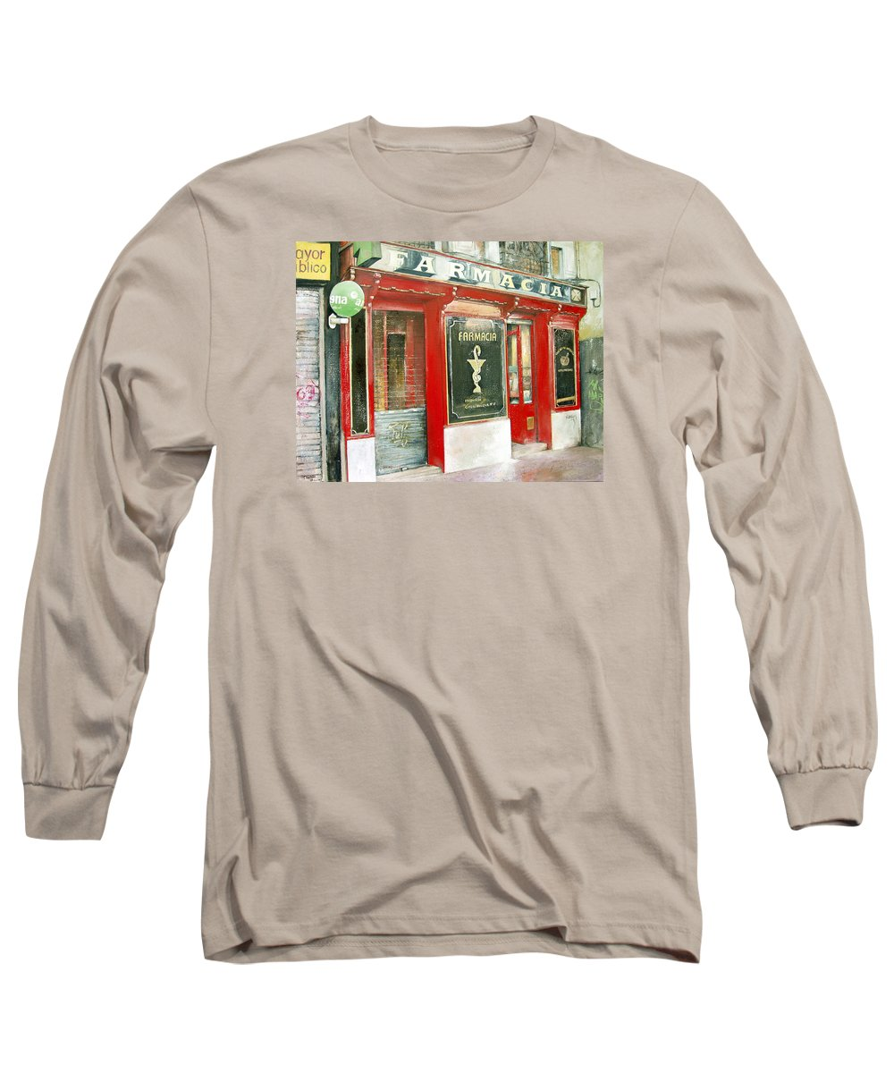 Farmacia Long Sleeve T-Shirt featuring the painting Old Pharmacy by Tomas Castano