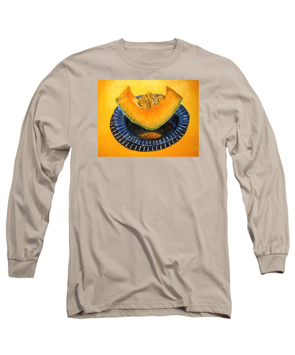 Cantaloupe Long Sleeve T-Shirt featuring the painting Cantaloupe Oil Painting by Natalja Picugina