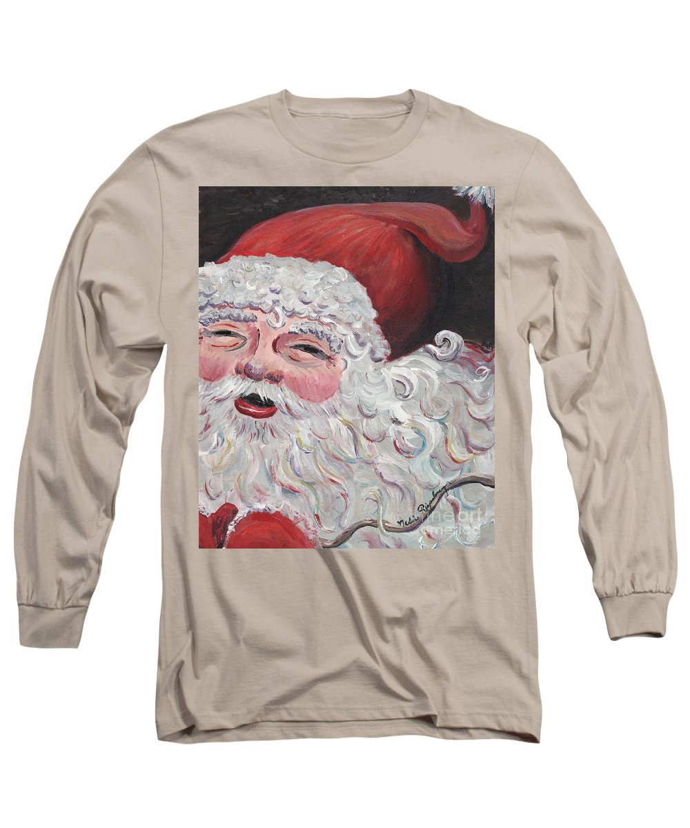 Santa Long Sleeve T-Shirt featuring the painting Jolly Santa by Nadine Rippelmeyer