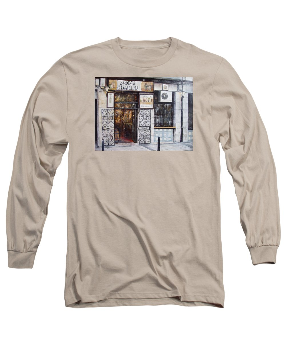 Bodega Long Sleeve T-Shirt featuring the painting La Cigalena Old Restaurant by Tomas Castano