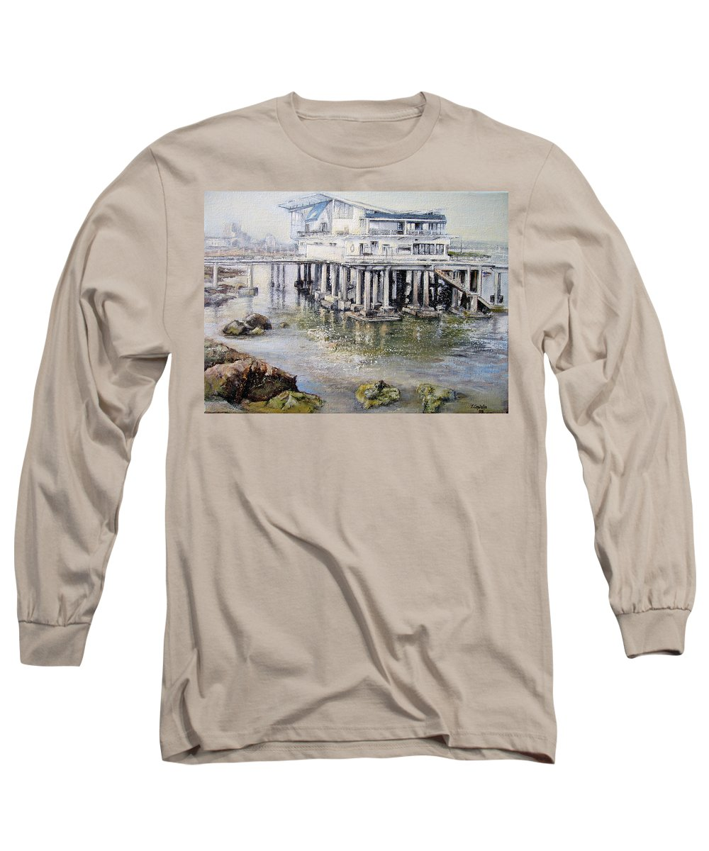 Maritim Long Sleeve T-Shirt featuring the painting Maritim Club Castro Urdiales by Tomas Castano