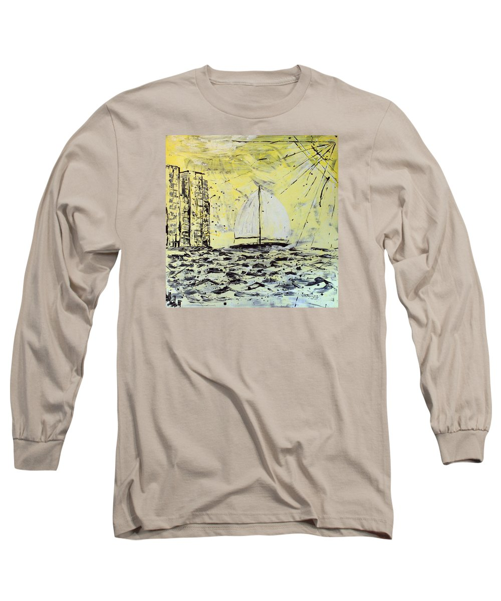 Sailboat With Sunray Long Sleeve T-Shirt featuring the painting Sail And Sunrays by J R Seymour