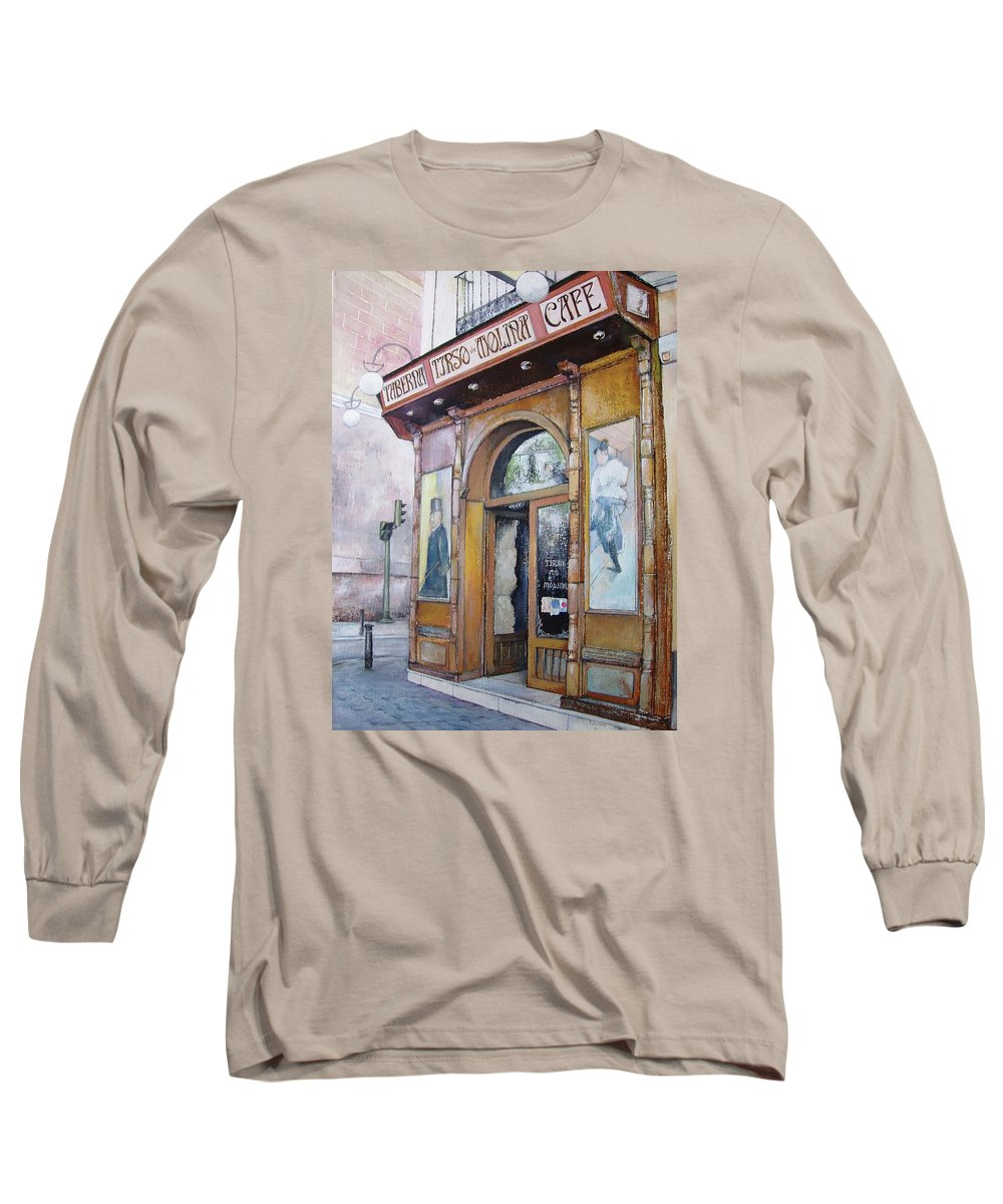 Tirso Long Sleeve T-Shirt featuring the painting Tirso De Molina Old Tavern by Tomas Castano