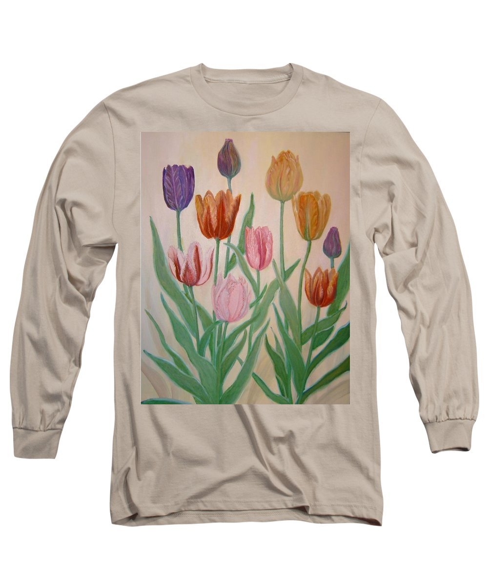 Flowers Of Spring Long Sleeve T-Shirt featuring the painting Tulips by Ben Kiger