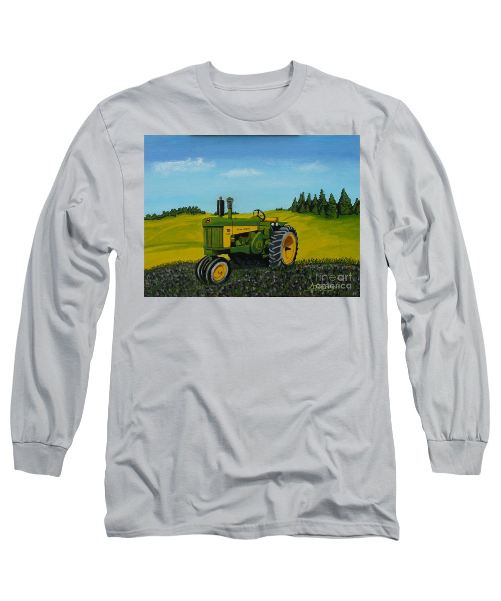 John Deere Long Sleeve T-Shirt featuring the painting Dear John by Anthony Dunphy