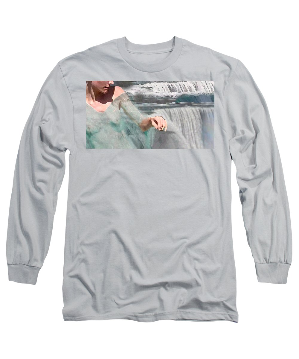 Waterscape Long Sleeve T-Shirt featuring the digital art Cascade by Steve Karol