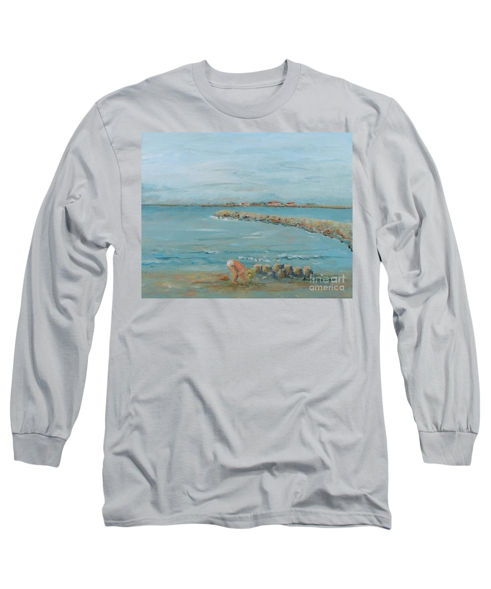 Beach Long Sleeve T-Shirt featuring the painting Child Playing At Provence Beach by Nadine Rippelmeyer