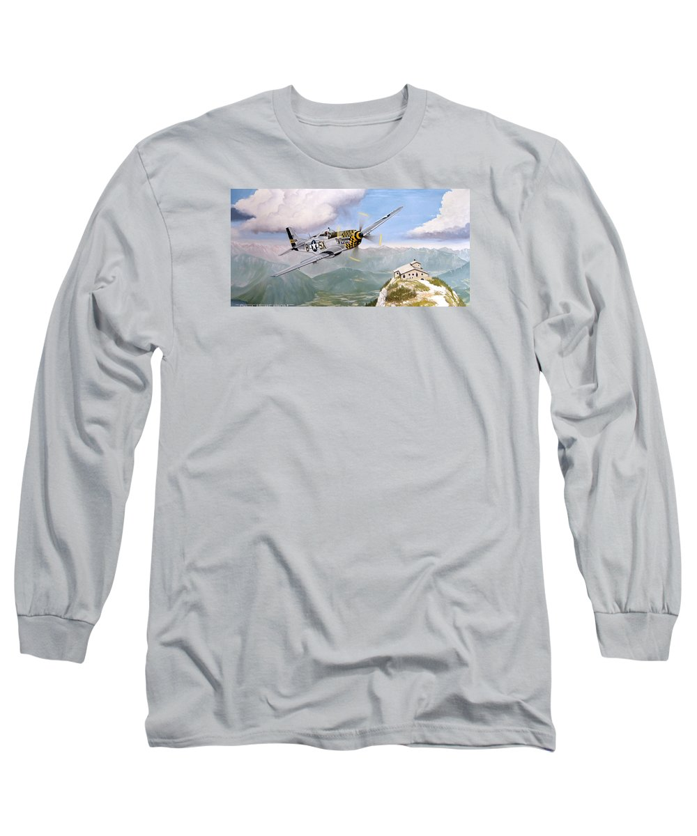 Military Long Sleeve T-Shirt featuring the painting Double Trouble Over The Eagle by Marc Stewart