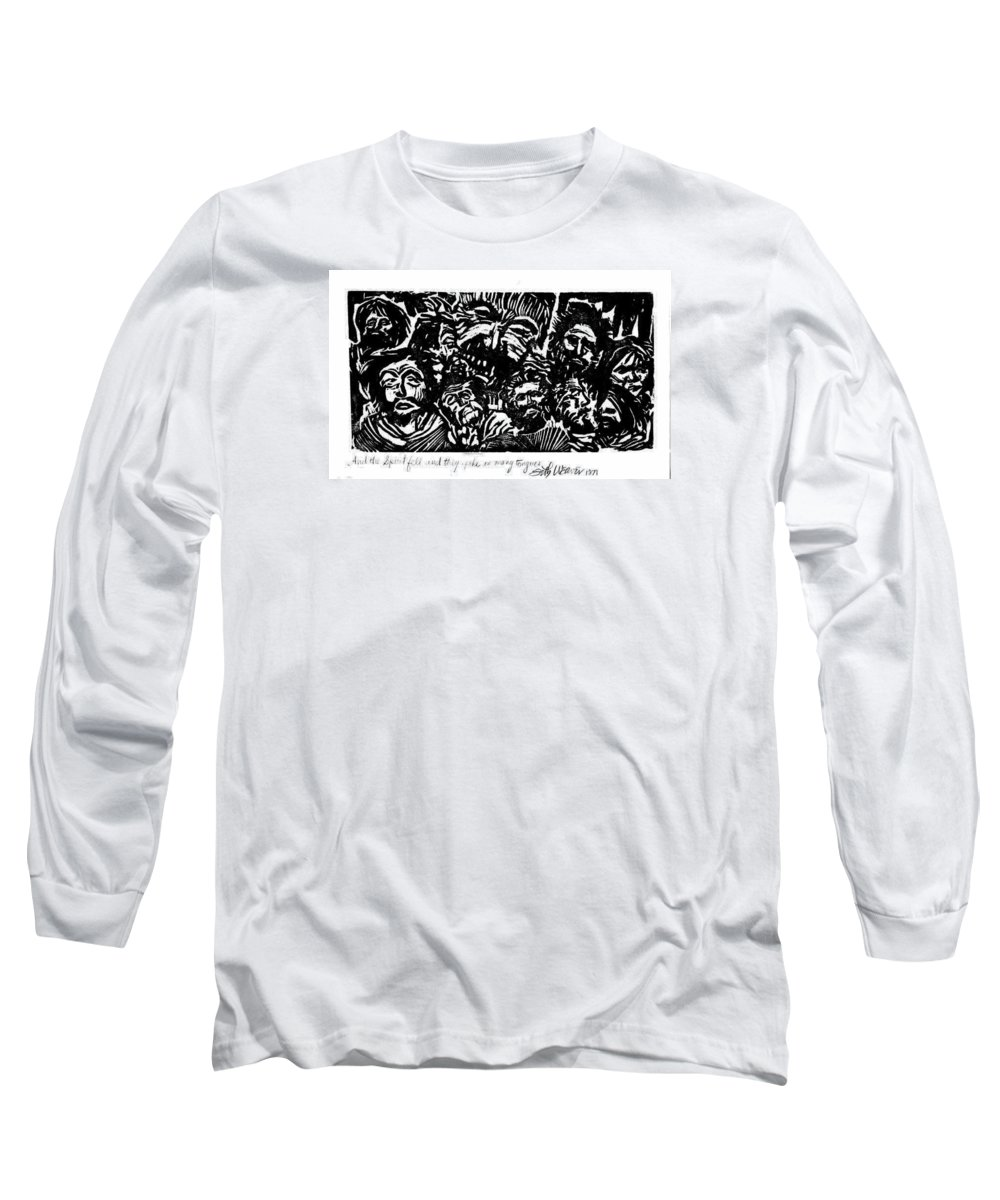And The Spirit Fell Long Sleeve T-Shirt featuring the drawing And The Spirit Fell by Seth Weaver