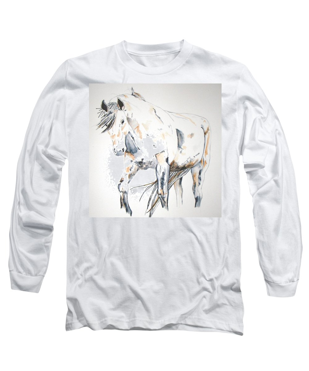 Horse Long Sleeve T-Shirt featuring the painting Beauty by Crystal Hubbard