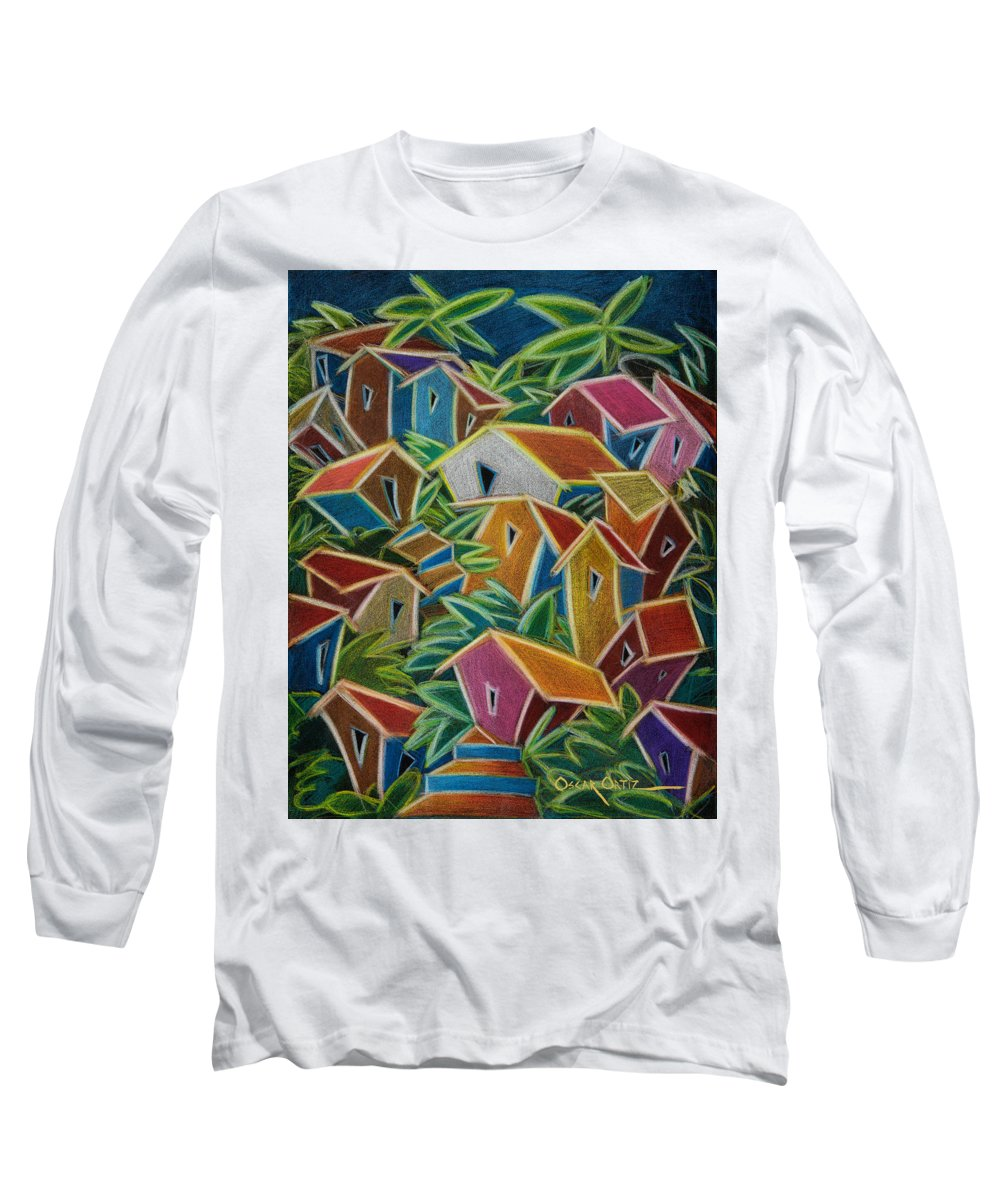 Landscape Long Sleeve T-Shirt featuring the painting Barrio Lindo by Oscar Ortiz