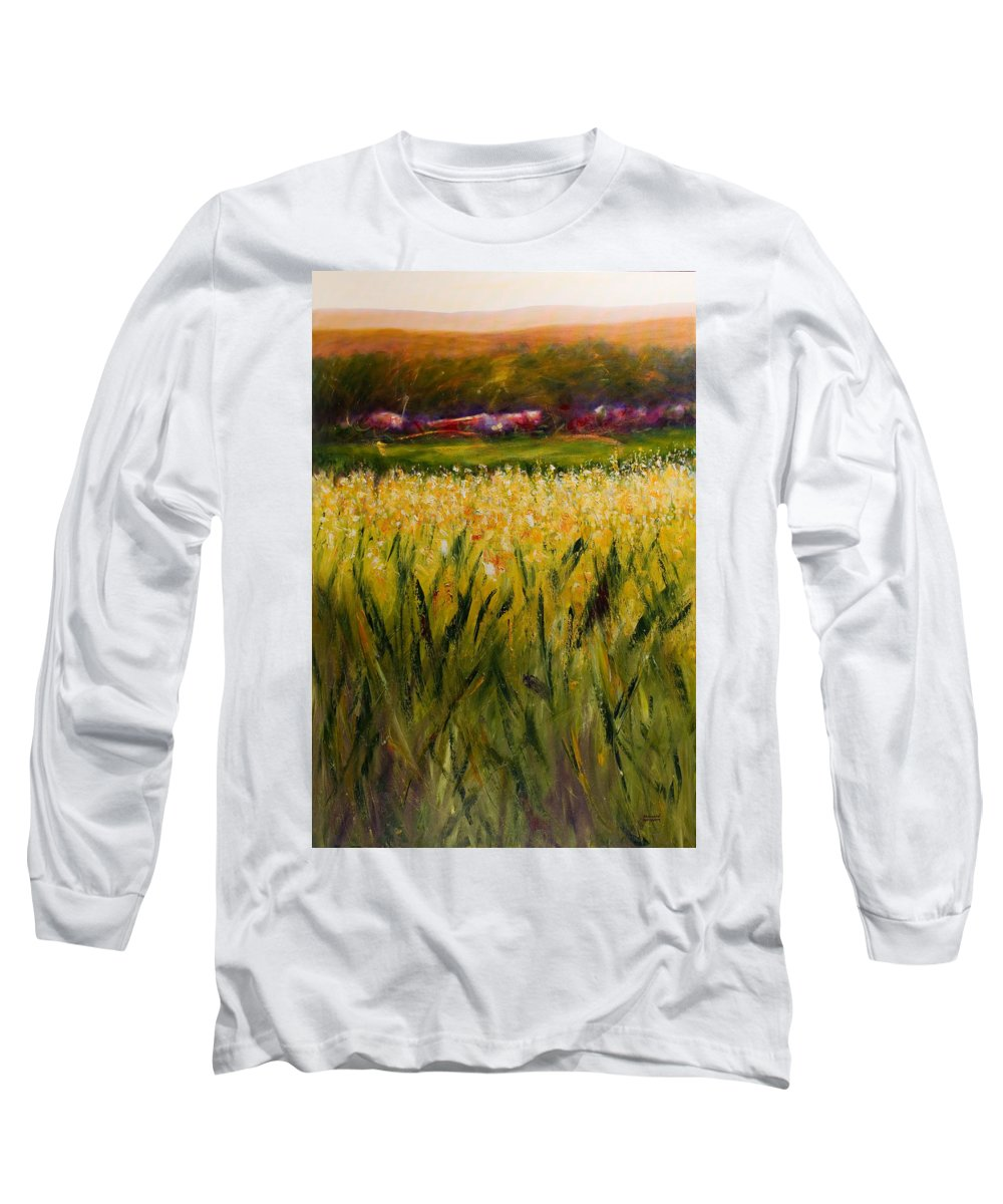 Landscape Long Sleeve T-Shirt featuring the painting Beyond The Valley by Shannon Grissom