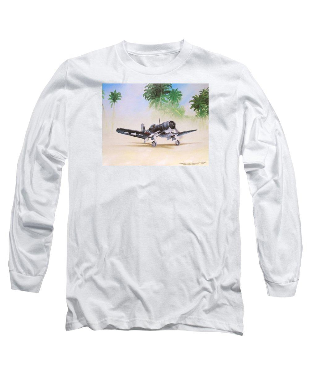 Aviation Long Sleeve T-Shirt featuring the painting Corsair Preflight by Marc Stewart