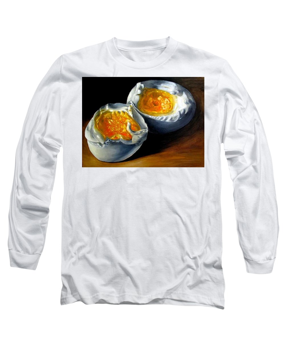 Eggs Long Sleeve T-Shirt featuring the painting Eggs Contemporary Oil Painting On Canvas by Natalja Picugina