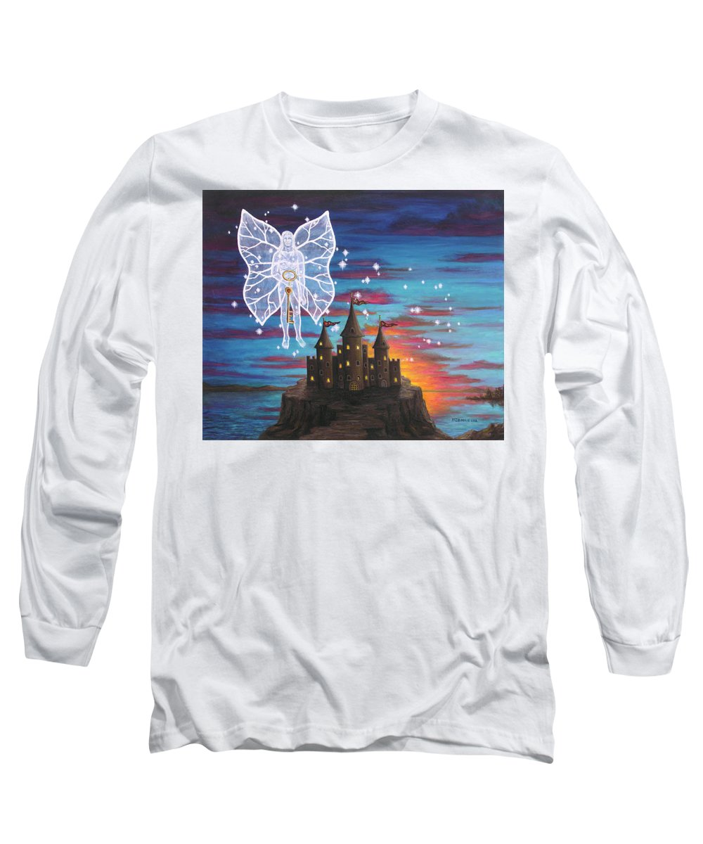 Fantasy Long Sleeve T-Shirt featuring the painting Fairy Takes The Key by Roz Eve