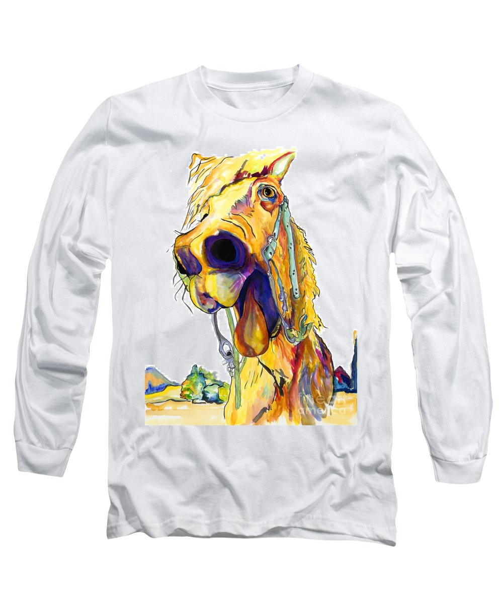 Animal Painting Long Sleeve T-Shirt featuring the painting Horsing Around by Pat Saunders-White