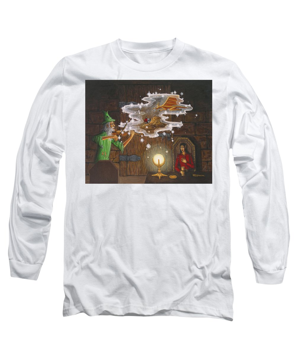 Fantasy Long Sleeve T-Shirt featuring the painting Magic Violin by Roz Eve