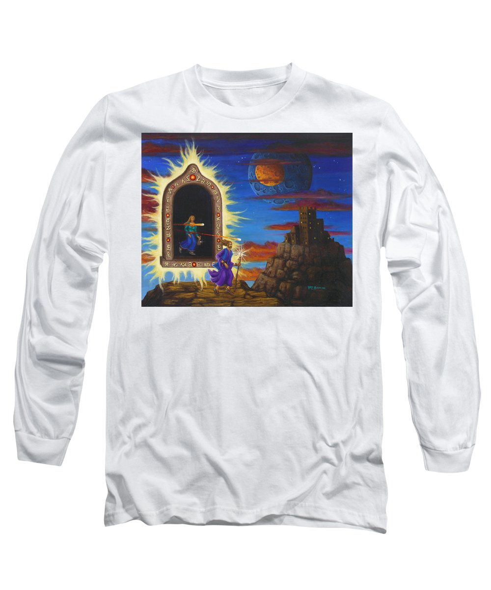 Fantasy Long Sleeve T-Shirt featuring the painting Narrow Escape by Roz Eve