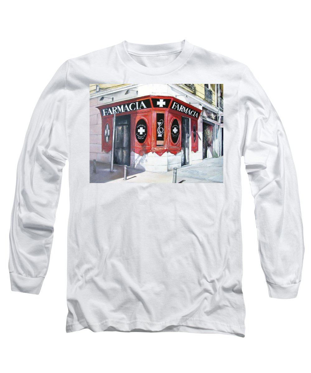 Pharmacy Long Sleeve T-Shirt featuring the painting Old Pharmacy by Tomas Castano