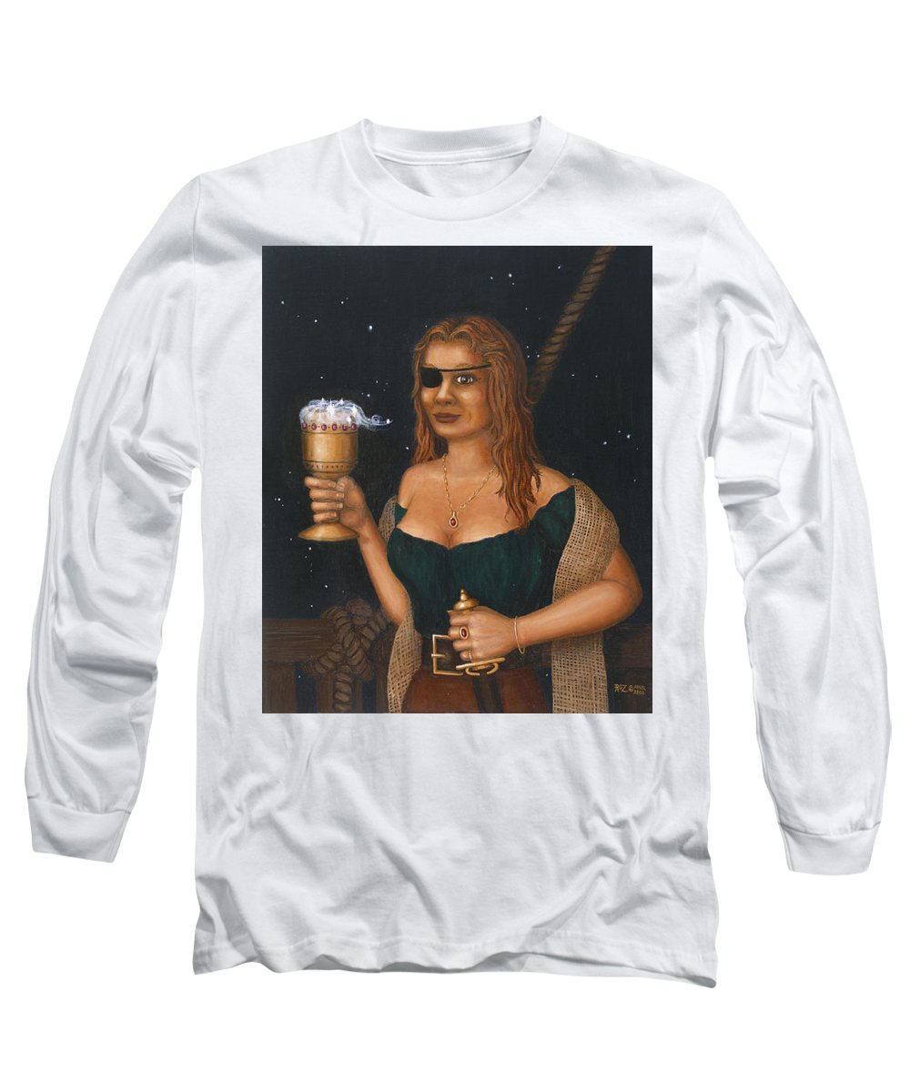 Fantasy Long Sleeve T-Shirt featuring the painting Pirate Queen by Roz Eve