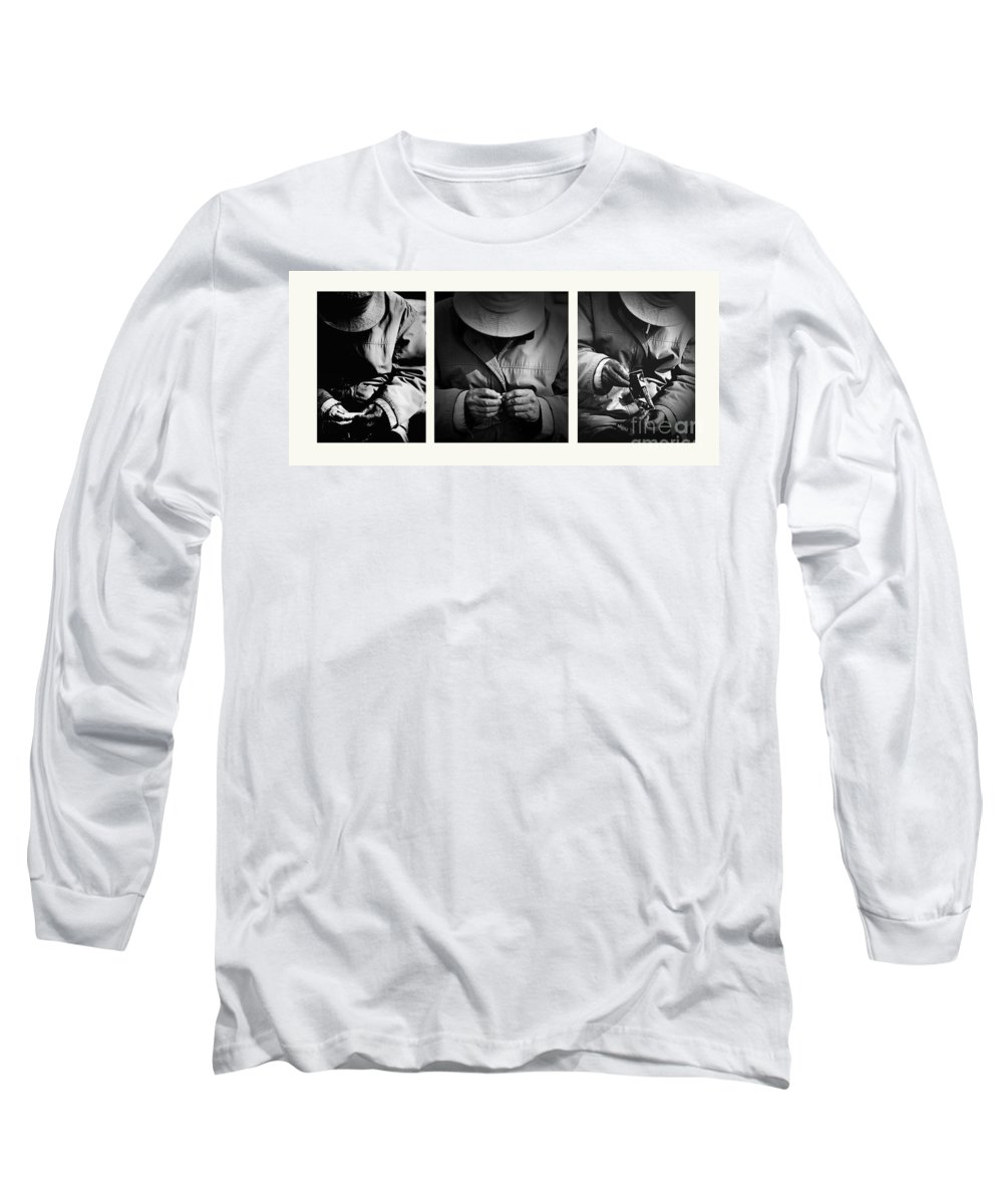 Rollup Rolling Cigarette Smoker Smoking Man Hat Monochrome Long Sleeve T-Shirt featuring the photograph Rolling His Own by Avalon Fine Art Photography