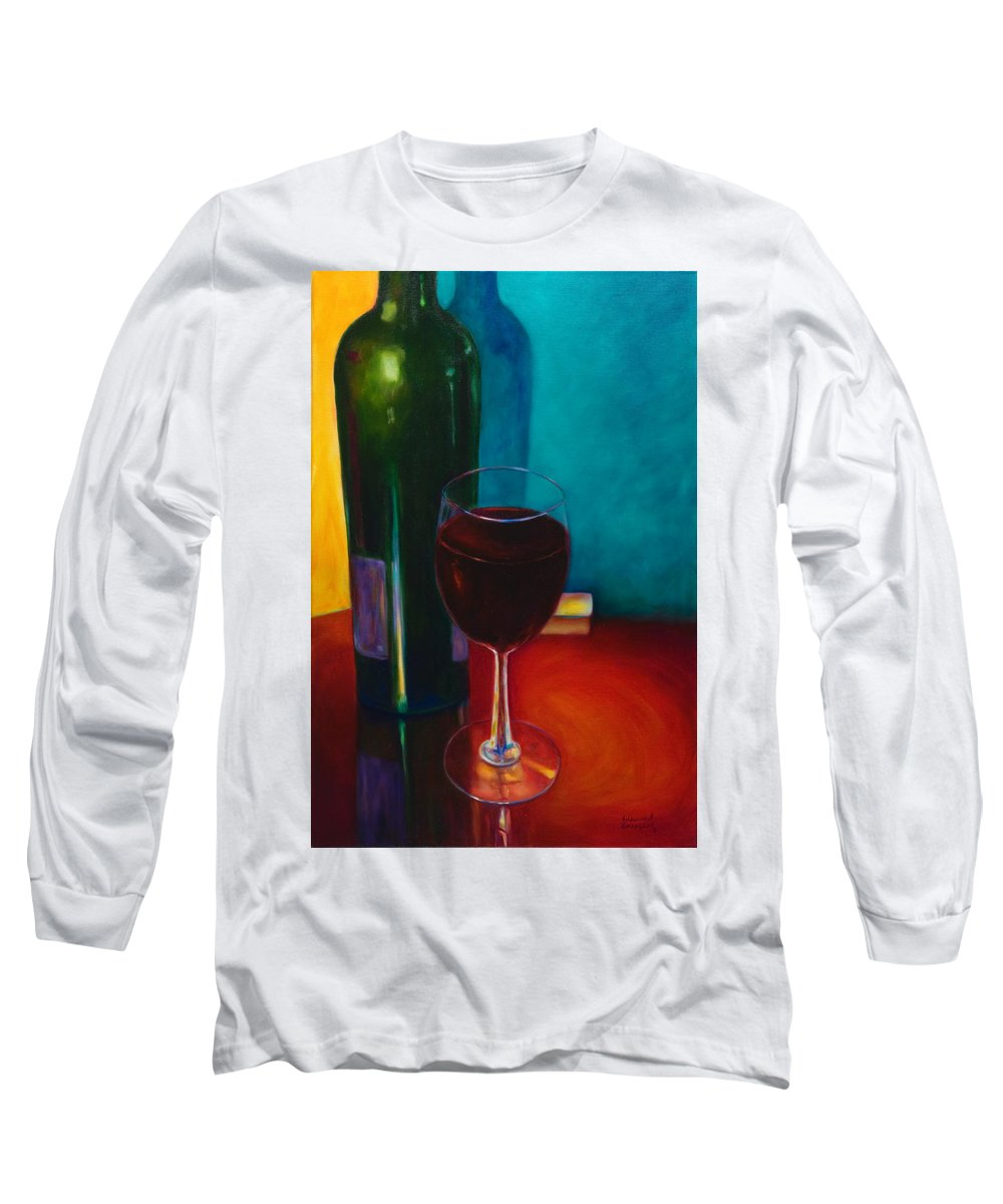 Wine Bottle Long Sleeve T-Shirt featuring the painting Shannon's Red by Shannon Grissom