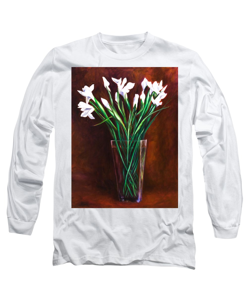 Iris Long Sleeve T-Shirt featuring the painting Simply Iris by Shannon Grissom