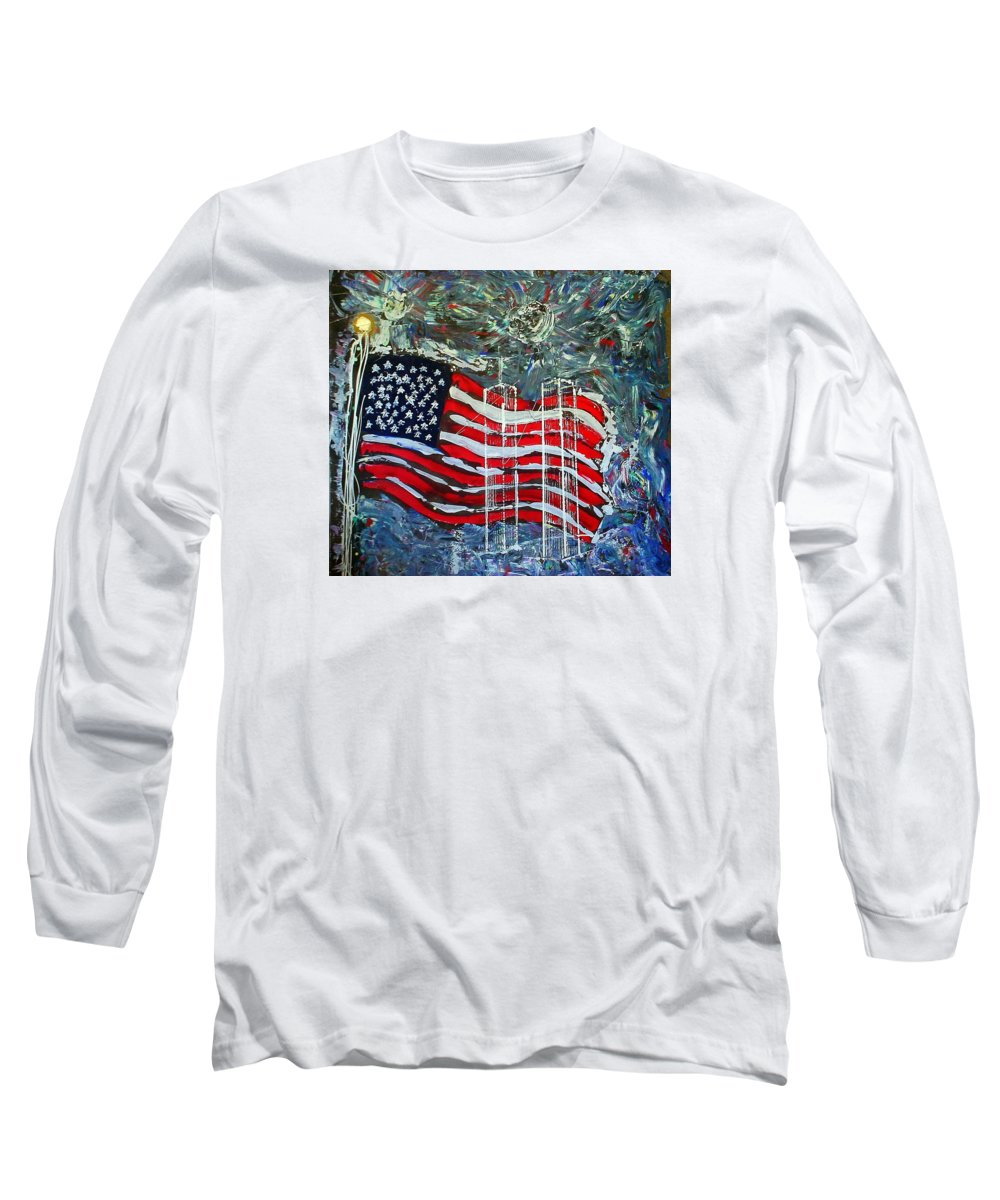 American Flag Long Sleeve T-Shirt featuring the mixed media Tribute by J R Seymour