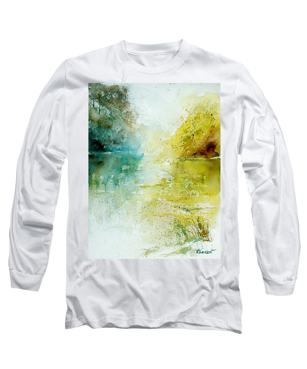 Pond Nature Landscape Long Sleeve T-Shirt featuring the painting Watercolor 24465 by Pol Ledent