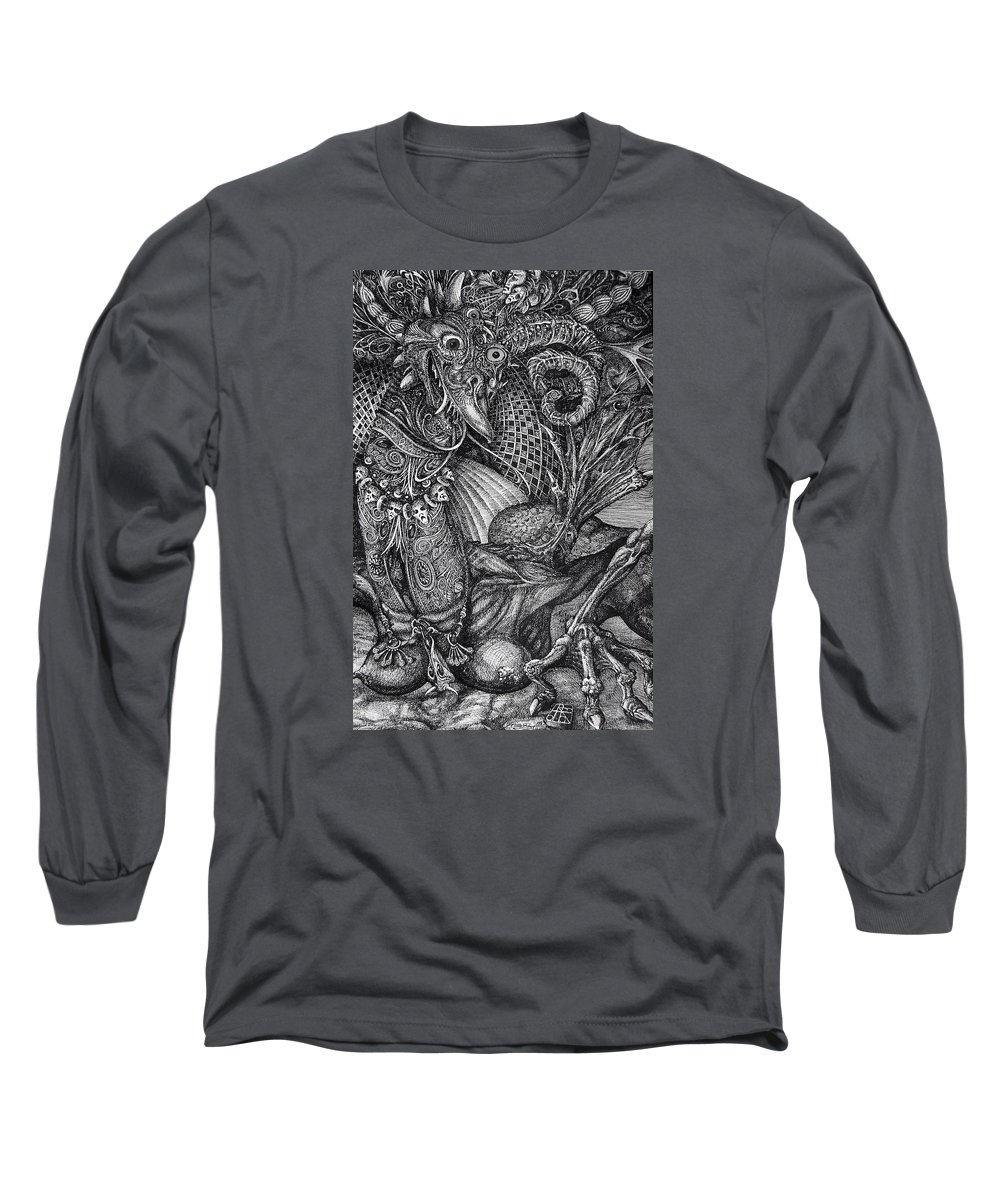 Surrealism Long Sleeve T-Shirt featuring the drawing Jabberwockie by Otto Rapp