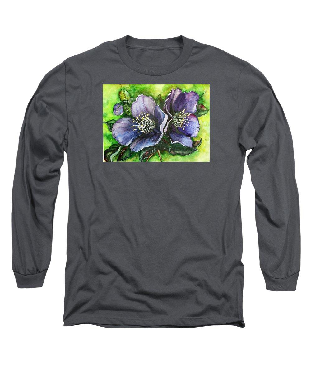 Flower Painting Botanical Painting Original W/c Painting Helleborous Painting Long Sleeve T-Shirt featuring the painting Helleborous Blue Lady by Karin Dawn Kelshall- Best