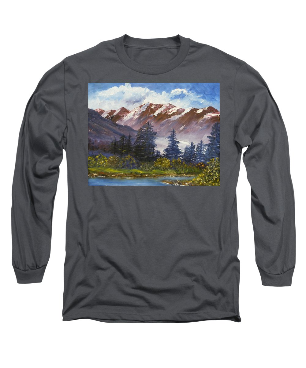 Oil Painting Long Sleeve T-Shirt featuring the painting Mountains I by Lessandra Grimley