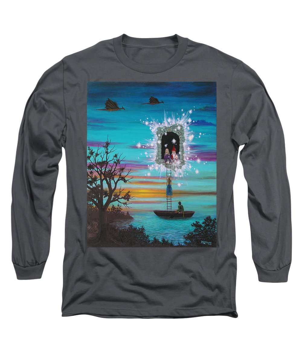 Fantasy Long Sleeve T-Shirt featuring the painting Sky Window by Roz Eve