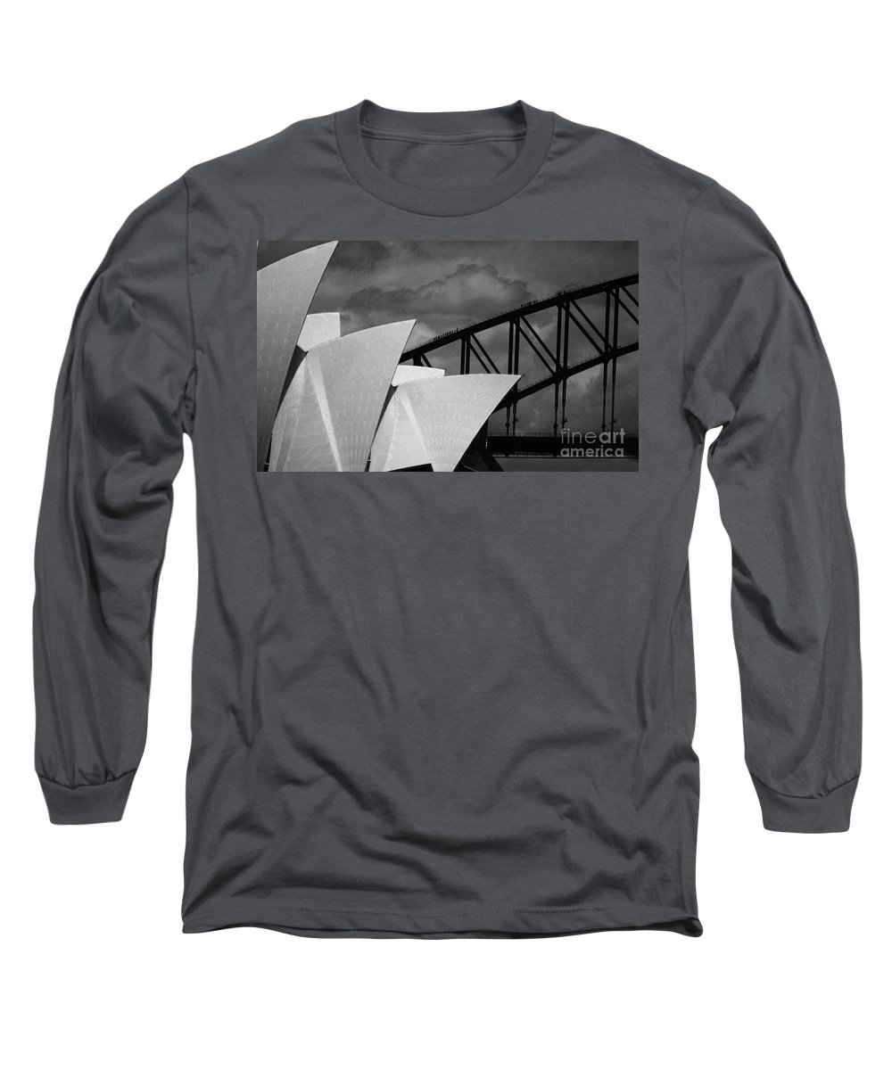 Sydney Opera House Long Sleeve T-Shirt featuring the photograph Sydney Opera House With Harbour Bridge by Avalon Fine Art Photography