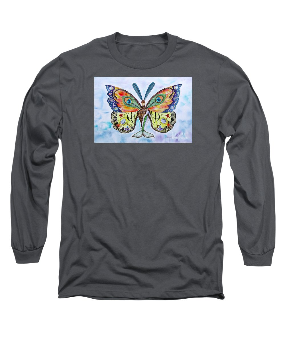 Butterfly Long Sleeve T-Shirt featuring the painting Winged Metamorphosis by Lucy Arnold